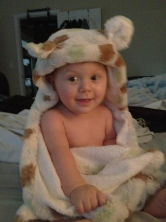 Addison all bundled up in her hooded bath towel