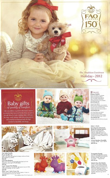 The 2012 FAO Schwarz Holiday Catalog Featuring Little Giraffe products - Little G, Luxe Dot Blanket, Luxe Cream Dot Blanky, and the Kids' Luxe Satin Coverup